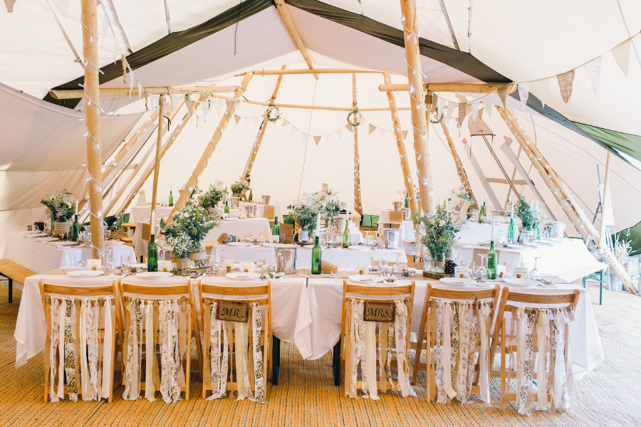 White Tipi Dressing & Interior