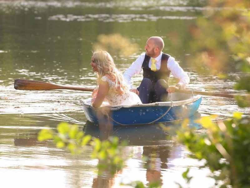 beautiful couple on beautiful boating lake